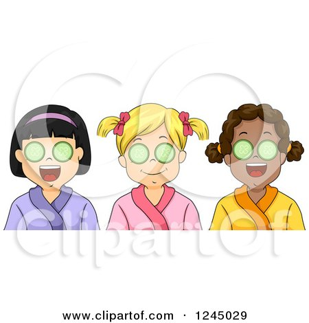 Clipart of Diverse Girls with Cucumbers over Their Eyes at a Spa - Royalty Free Vector Illustration by BNP Design Studio