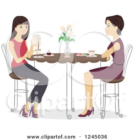 Clipart of a Mother and Daughter Enjoying Tea Together - Royalty Free Vector Illustration by BNP Design Studio