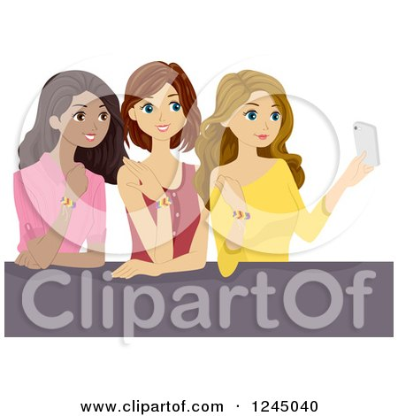 Clipart of Teen Girls Taking a Selfie with Their Friendship Bracelets - Royalty Free Vector Illustration by BNP Design Studio