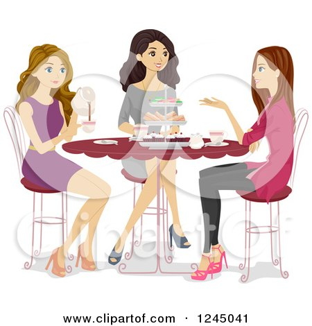 Clipart of Teen Girls Talking at a Tea Party - Royalty Free Vector Illustration by BNP Design Studio