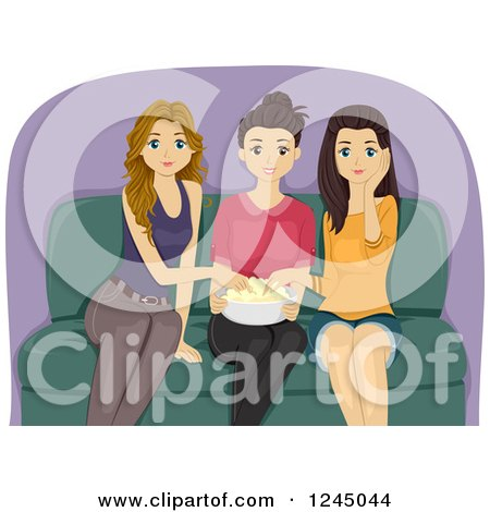 Clipart of Teenage Girls Eating Popcorn and Watching a Movie - Royalty Free Vector Illustration by BNP Design Studio