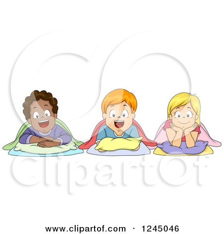Clipart of Diverse Children Laying down for Nap Time - Royalty Free Vector Illustration by BNP Design Studio