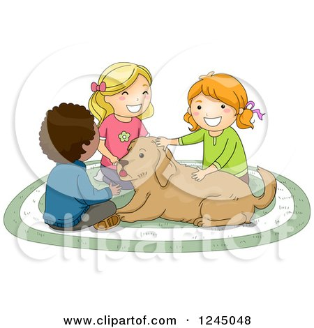 Clipart of a Boy and Girls Petting a Dog - Royalty Free Vector Illustration by BNP Design Studio
