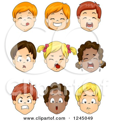 Clipart of Faces of Caucasian and African American Children - Royalty Free Vector Illustration by BNP Design Studio