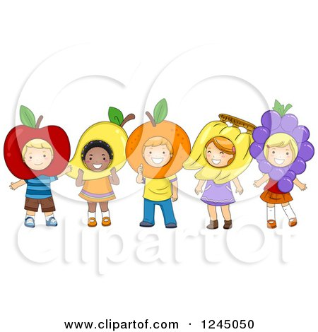 Clipart of Happy Diverse Children Wearing Fruit Costumes - Royalty Free Vector Illustration by BNP Design Studio
