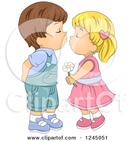 Clipart of a Cute Kid Couple About to Kiss - Royalty Free Vector Illustration by BNP Design Studio