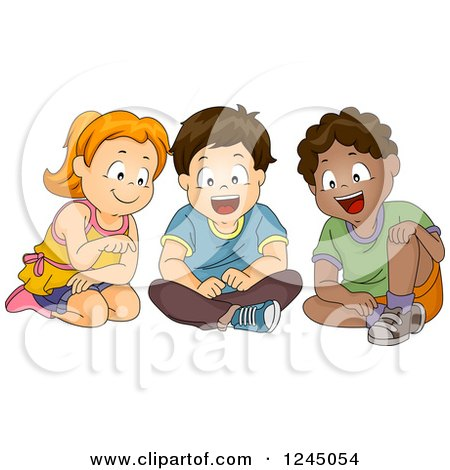 Clipart of a Girl and Boys Sitting and Looking at Something - Royalty Free Vector Illustration by BNP Design Studio