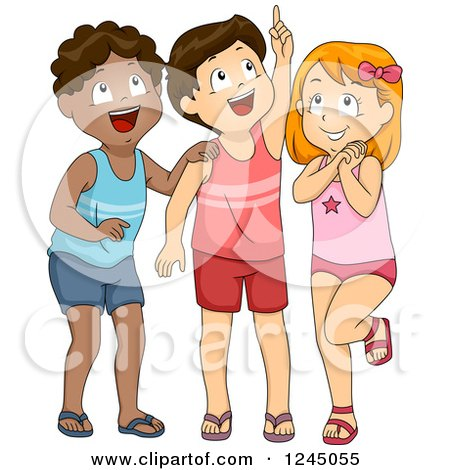 Clipart of Excited Children in Swimwear, Looking up - Royalty Free Vector Illustration by BNP Design Studio