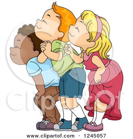 Clipart of a Group of Children Happily Smelling - Royalty Free Vector Illustration by BNP Design Studio