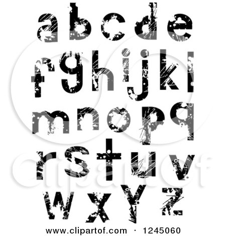 Clipart of Black and White Lowercase Grunge Alphabet Letters - Royalty Free Vector Illustration by BNP Design Studio