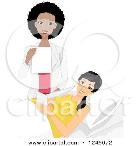 Clipart of a Happy Black Obstetrics and Gynecology Doctor and Pregnant Patient - Royalty Free Vector Illustration by BNP Design Studio