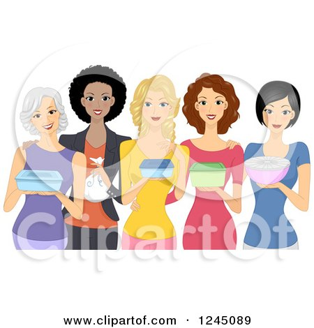 Clipart of a Group of Diverse Women Carrying Food Dishes for a Pot Luck - Royalty Free Vector Illustration by BNP Design Studio