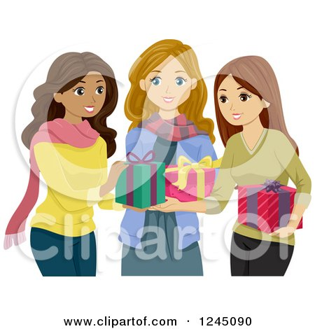 Clipart of Diverse Teeni Girls Exchanging Christmas Gifts - Royalty Free Vector Illustration by BNP Design Studio