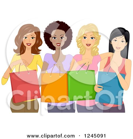 Clipart of a Group of Diverse Ladies Holding Shopping Bags - Royalty Free Vector Illustration by BNP Design Studio