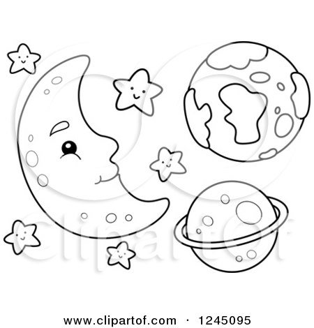 Clipart Of A Black And White Happy Moon With Stars And Planets
