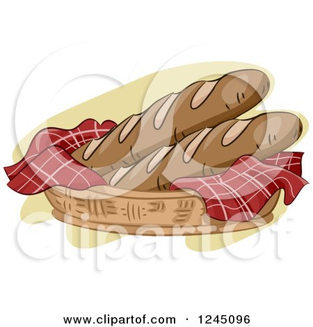Clipart of a Basket with Fresh Baguettes - Royalty Free Vector Illustration by BNP Design Studio