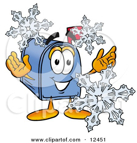 Blue Postal Mailbox Cartoon Character With Three Snowflakes in Winter Posters, Art Prints