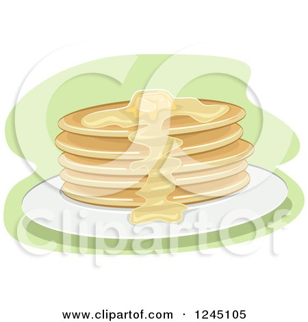Clipart of a Pancake Stack with Syrup and Butter - Royalty Free Vector Illustration by BNP Design Studio