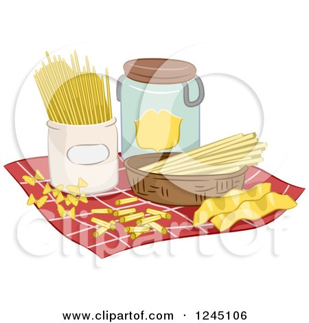 Clipart of Assorted Pasta on a Napkin - Royalty Free Vector Illustration by BNP Design Studio