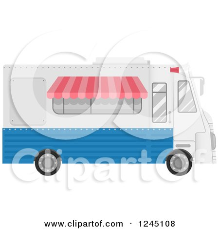 Clipart of a White and Blue Food Truck - Royalty Free Vector Illustration by BNP Design Studio