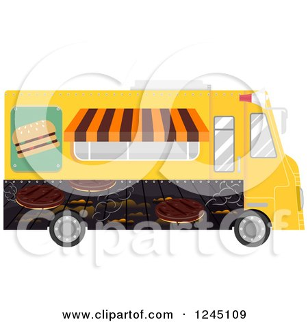 Clipart of a Burger Food Truck - Royalty Free Vector Illustration by BNP Design Studio
