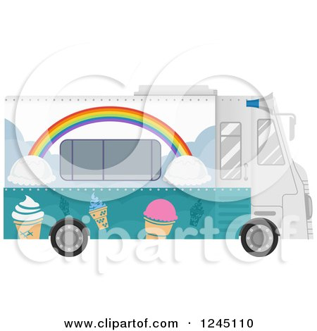 Clipart of an Ice Cream Food Truck - Royalty Free Vector Illustration by BNP Design Studio