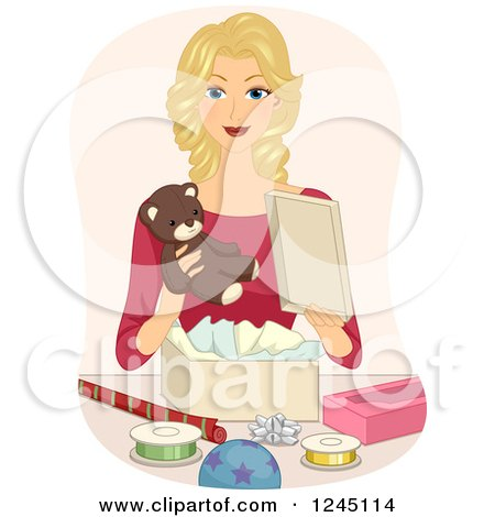 Clipart of a Blond Woman Gift Wrapping a Teddy Bear - Royalty Free Vector Illustration by BNP Design Studio