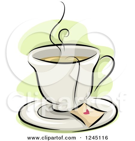 Clipart of a Cup of Hot Tea with a Heart on the Bag - Royalty Free Vector Illustration by BNP Design Studio