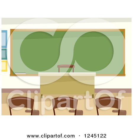 Clipart of an Empty Classroom Interior - Royalty Free Vector Illustration by BNP Design Studio