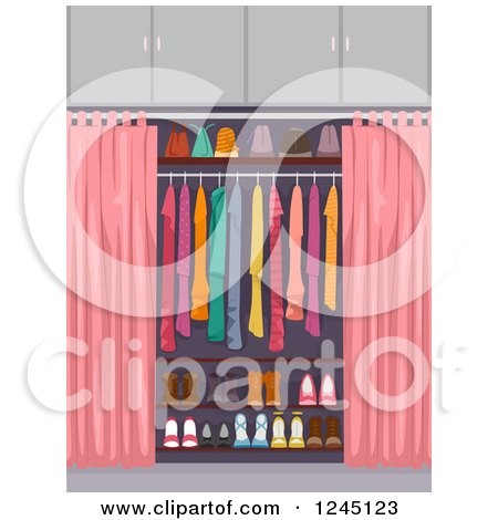 Clipart of an Organized Closet with Pink Curtains - Royalty Free Vector Illustration by BNP Design Studio