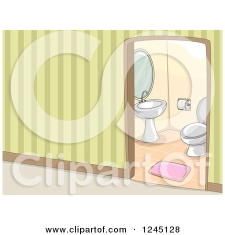Clipart of a Hallway View into a Bathroom - Royalty Free Vector Illustration by BNP Design Studio