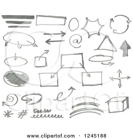 Clipart of Gray Doodled Marker Design Elements - Royalty Free Vector Illustration by yayayoyo