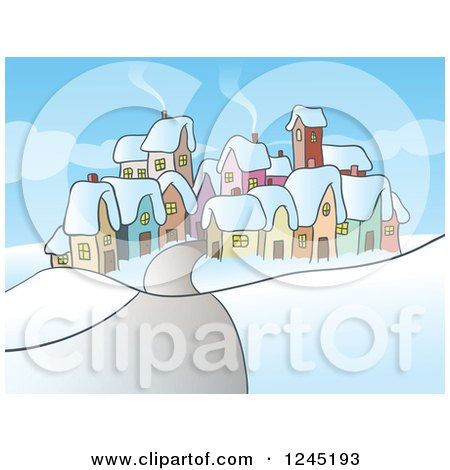 Clipart of a Small Village in Winter - Royalty Free Vector Illustration by Holger Bogen