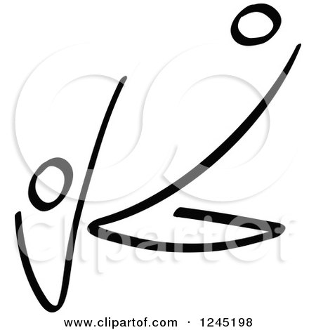 Clipart of a Black Stick Man Kicking a Soccer Ball 4 - Royalty Free Vector Illustration by Zooco