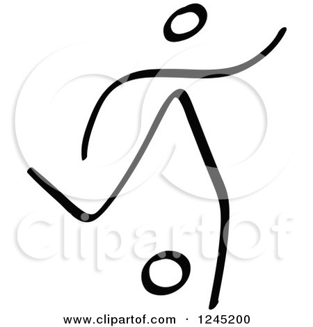 Clipart of a Black Stick Man Kicking a Soccer Ball 5 - Royalty Free Vector Illustration by Zooco