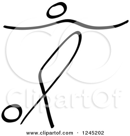 Clipart of a Black Stick Man Rabona Kicking a Soccer Ball - Royalty Free Vector Illustration by Zooco