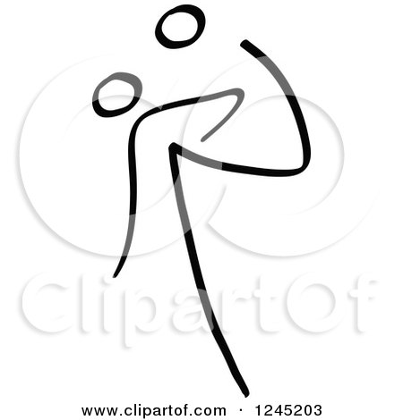 Clipart of a Black Stick Man Kicking a Soccer Ball Above His Head - Royalty Free Vector Illustration by Zooco