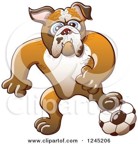 Clipart of a Soccer Bulldog Resting a Foot on a Ball - Royalty Free Vector Illustration by Zooco