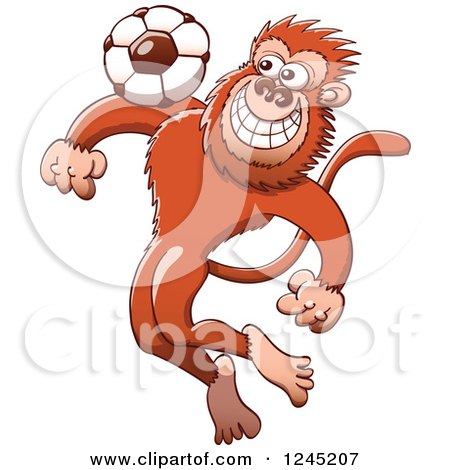 Clipart of a Soccer Monkey Tapping a Football on His Chest - Royalty Free Vector Illustration by Zooco