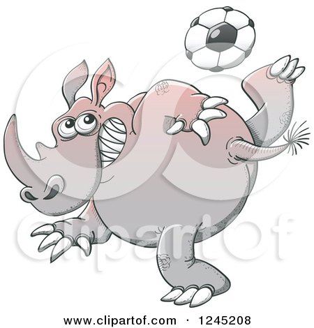 Clipart of a Soccer Rhinoceros Kicking a Ball - Royalty Free Vector Illustration by Zooco