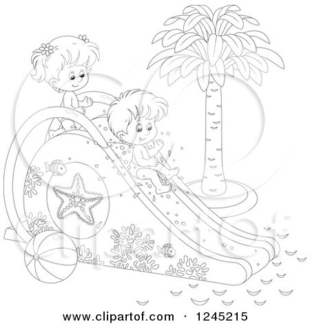 Clipart of Black and White Happy Children Playing on a Water Slide - Royalty Free Vector Illustration by Alex Bannykh