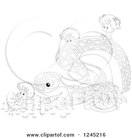 Clipart of Black and White Happy Children Playing on an Eel or Snake Water Slide - Royalty Free Vector Illustration by Alex Bannykh