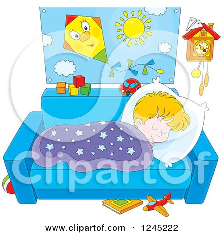 Clipart of a Blond Boy Napping on a Couch - Royalty Free Vector Illustration by Alex Bannykh