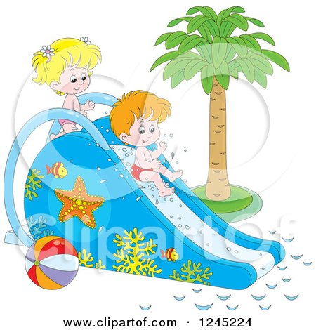 Clipart of Happy Children Playing on a Water Slide - Royalty Free Vector Illustration by Alex Bannykh