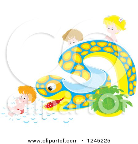 Clipart of Happy Caucasian Children Playing on an Eel or Snake Water Slide - Royalty Free Vector Illustration by Alex Bannykh