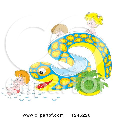 Clipart Of Happy Children Playing On An Eel Or Snake Water Slide Royalty Free Vector Illustration