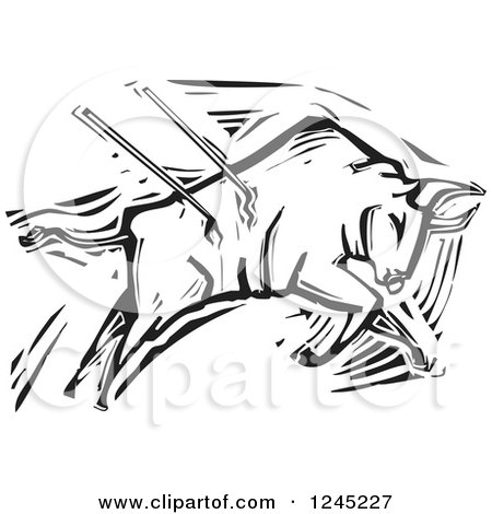 Clipart of a Black and White Woodcut Bullfighting Bull Stabbed with Spears - Royalty Free Vector Illustration by xunantunich