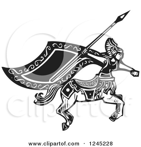 Clipart of a Black and White Woodcut Female Charging Centaur with a Spear - Royalty Free Vector Illustration by xunantunich