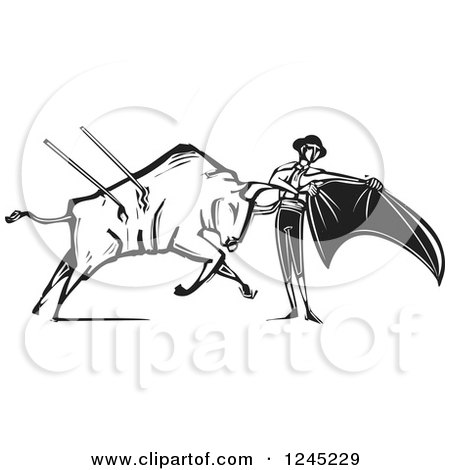 Clipart of a Black and White Woodcut Bull Charging a Matador with a Cape - Royalty Free Vector Illustration by xunantunich