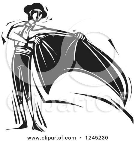 Clipart of a Black and White Woodcut Bullfighting Bull ...